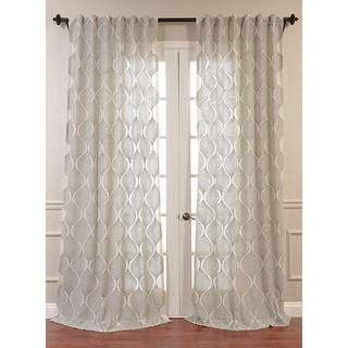 Dreamweaver Embroidered Faux Linen Sheer Curtain Panel