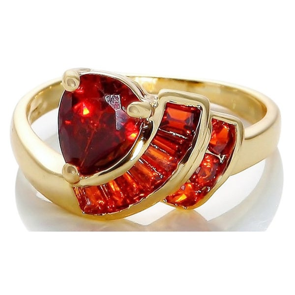 10k Gold Sunstone Ruby Ring