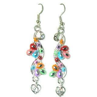 Tiara Global Hand-crafted Color Splash Silvertone Dangle Earrings