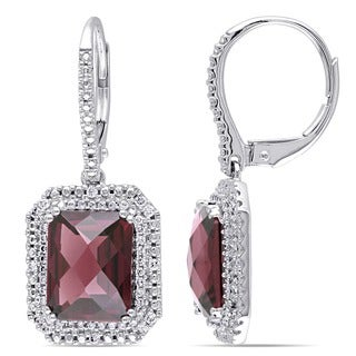 Miadora 14k White Gold Rhodolite and 1/3ct TDW Diamond Earrings (G-H, SI1-SI2)