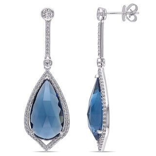 Miadora Signature Collection 14k White Gold Sapphire Topaz and 3/5ct TDW Diamond Earrings (G-H, SI1-SI2)
