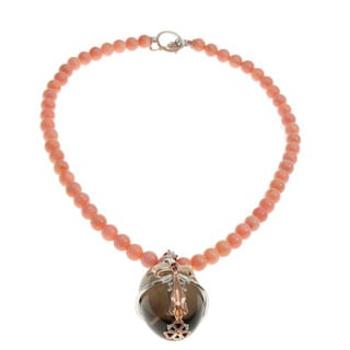 Michael Valitutti Coral and Smokey Quartz Necklace