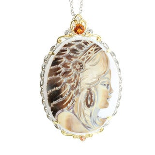 Michael Valitutti Palladium Silver Shell Cameo Accented by Madeira Citrine and Sapphire