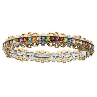 Michael Valitutti Palladium Silver Gemstone Bangle