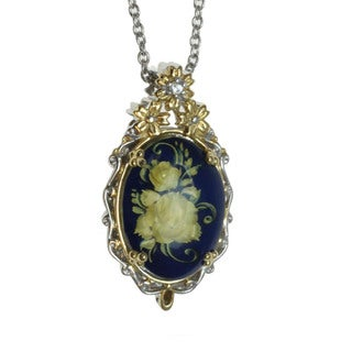 Michael Valitutti Palladium Silver Amber 'Flower' Pendant With Sapphire Accent