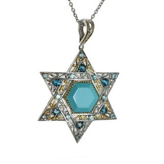 Michael Valitutti Palladium Silver Multi-Stone ' Star of David' Pendant