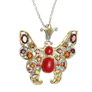 Michael Valitutti Palladium Silver Multi-Stone 'Butterfly' Pendant