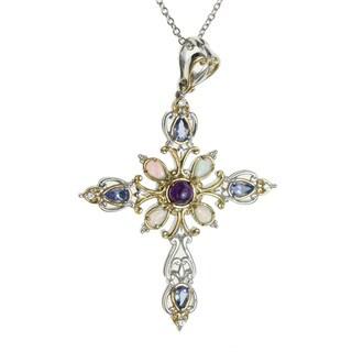 Michael Valitutti Palladium Silver Multi-Stone 'Cross' Pendant