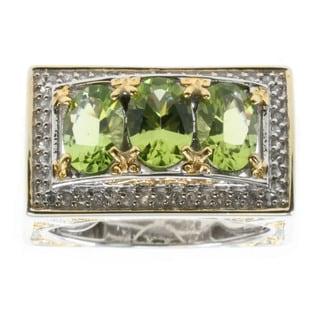 Michael Valitutti Palladium Silver Arizona Peridot And White Zircon Ring