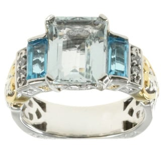 Michael Valitutti Palladium Silver Aquamarine Ring With Swiss Blue Topaz And White Sapphire