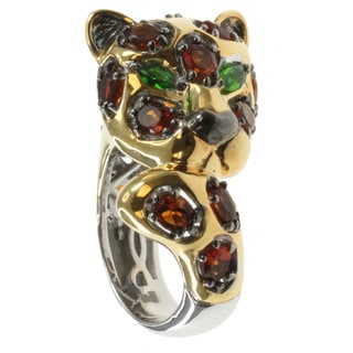 Michael Valitutti Palladium Silver Leopard Ring With Madeira Citrine And Chrome Diopside