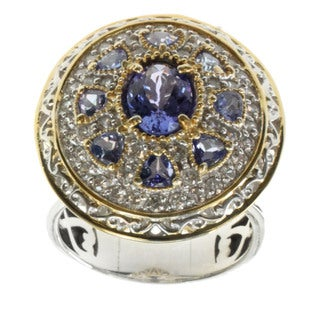 Michael Valitutti Palladium Silver Tanzanite and White Zircon Medallion Ring