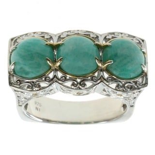 Michael Valitutti Palladium Silver Virginia Amazonite Ring