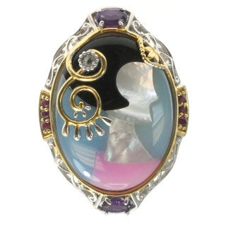 Michael Valitutti Inlaid Cameo Ring Accented By Ruby, Amethyst And Topaz