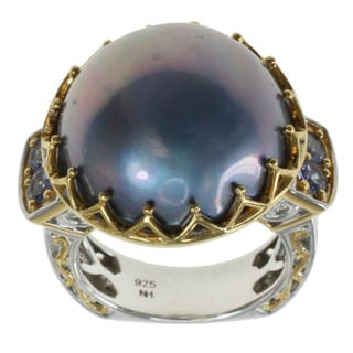 Michael Valitutti Peacock Mabe pearl Ring With Tanzanite