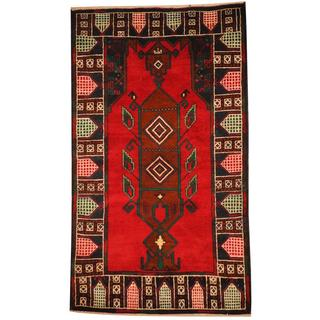 Herat Oriental Semi-antique Afghan Hand-knotted Tribal Balouchi Red/ Navy Wool Rug (3' x 5'2)