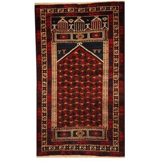 Herat Oriental Semi-antique Afghan Hand-knotted Tribal Balouchi Navy/ Ivory Wool Rug (3' x 5'1)