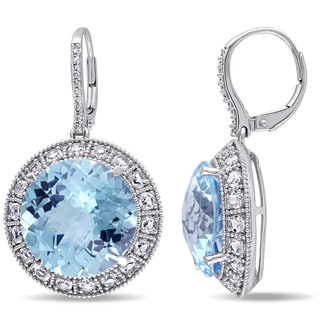 Miadora Signature Collection 14k White Gold Blue and White Topaz and 1/10ct TDW Diamond Earrings (G-H, SI1-SI2)