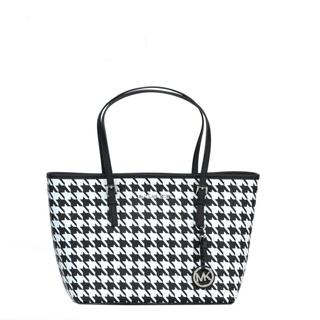 MICHAEL Michael Kors Houndstooth Jet Set Travel Small Tote