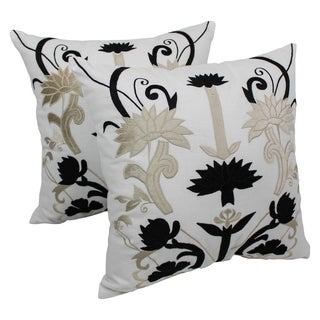 Blazing Needles 20-inch Indian Floral Elegance Velvet Applique Throw Pillows (Set of 2)