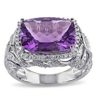 Miadora Signature Collection 14k White Gold Amethyst and 2/5ct TDW Diamond Cocktail Ring (G-H, SI1-SI2)