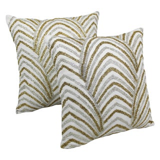 Blazing Needles 20-inch Arching Fans Beaded Throw Pillows (Set of 2)