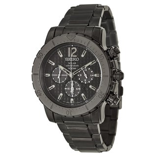Seiko Men's 'Core' Black Stainless Steel Solar Powered Quartz Watch