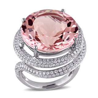 Miadora Signature Collection 14k White Gold Morganite and 1 3/4ct TDW Diamond Ring (G-H, SI1-SI2)