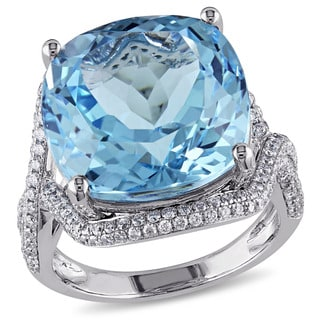 Miadora Signature Collection 14k White Gold Blue Topaz and 1ct TDW Diamond Ring (G-H, SI1-SI2)