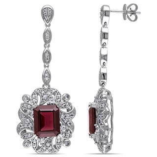 Miadora Signature Collection 14k White Gold Sapphire Rhodolite and 1/6ct TDW Diamond Earrings (G-H, SI1-SI2)