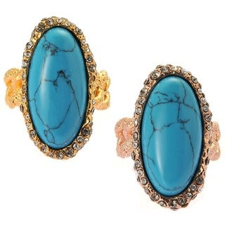 De Buman 18K Yellow Goldplated or 18K Rose Goldplated Oval-Shaped Turquoise Ring