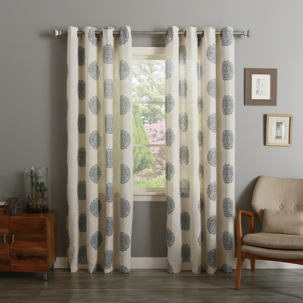 Medallion Printed Linen Blend Grommet Top 84-inch Curtain Panel Pair ...