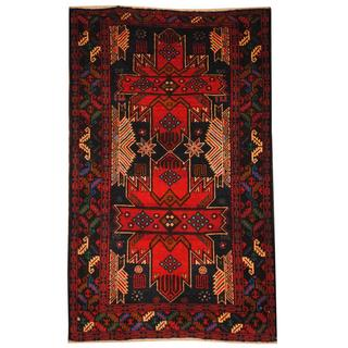 Herat Oriental Semi-antique Afghan Hand-knotted Tribal Balouchi Blue/ Red Wool Rug (2'11 x 4'9)