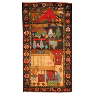 Herat Oriental Semi-antique Afghan Hand-knotted Tribal Balouchi Ivory/ Blue Wool Rug (2'9 x 5')