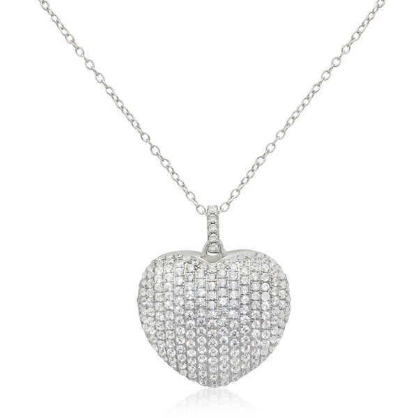 Gioelli Sterling Silver Cubic Zirconia Puffed Heart Pendant Necklace