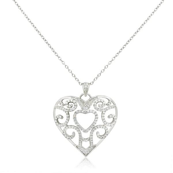 Gioelli Sterling Silver Cubic Zirconia Swirl Heart Pendant Necklace