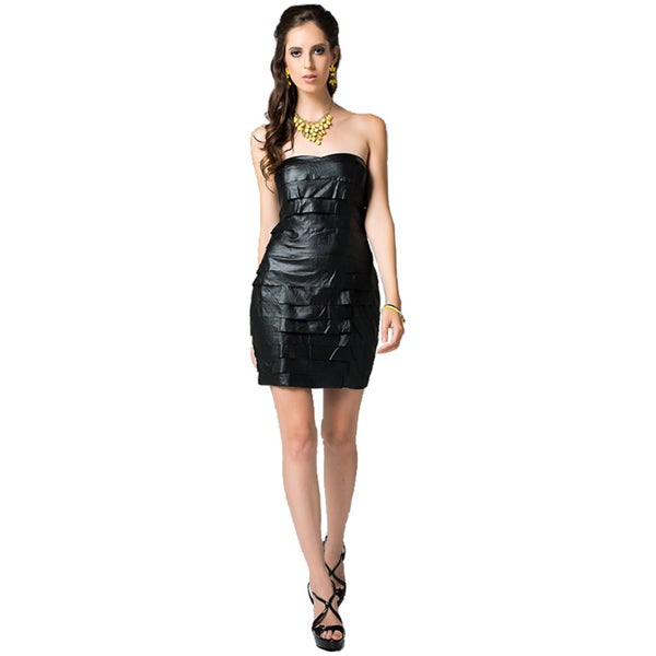 Black Flirtatious Faux Leather Dress