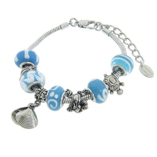 Eternally Haute Under the Sea Aqua Murano Glass and Seashell Charm Bracelet