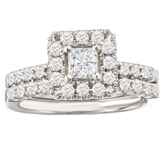 Avanti 14k White Gold 1ct TDW Princess-cut Diamond Halo Bridal Ring Set (G-H, SI1-SI2)