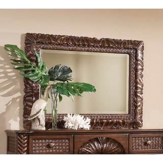 Palm Court II Coco Brown Carved Landscape Mirror