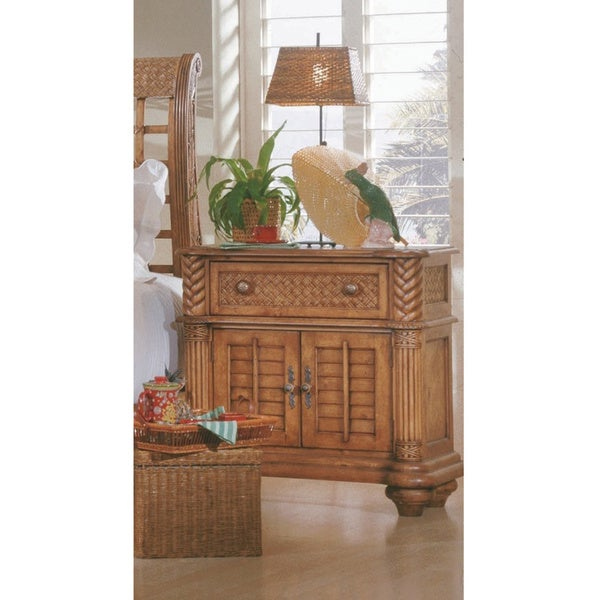 Palm Court Island Pine Metal Leg One-drawer Night Stand