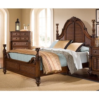 Palm Court II Coco Brown Low Poster Bed