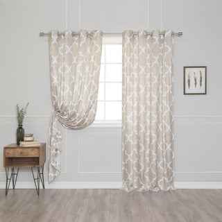 Aurora Home Velvet Moroccan Print Grommet Top 84-inch Curtain Panel Pair