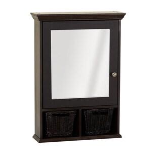 Zenith Espresso Medicine Cabinet with 2 Wicker Baskets