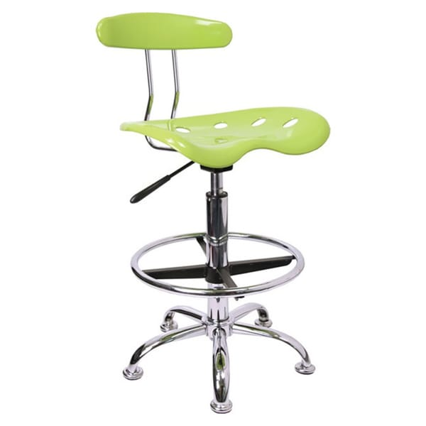 Offex Chrome Drafting Stool with Tractor Seat 14618848