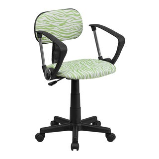 Offex Green/ White Zebra Print Computer Chair with Arms