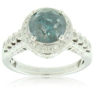 Suzy Levian 14k White Gold 2 7/8ct TDW Blue and White Diamond Ring (G-H, VS1-VS2)