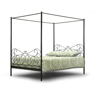 Baxton Studio Antiquity Metal Contemporary Queen-Size Canopy Bed