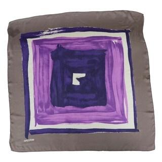 Halston Electric Purple Concentric Squares Scarf