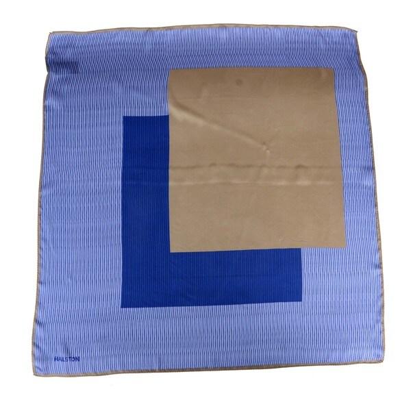 Halston Offset Square Pattern Silk Scarf